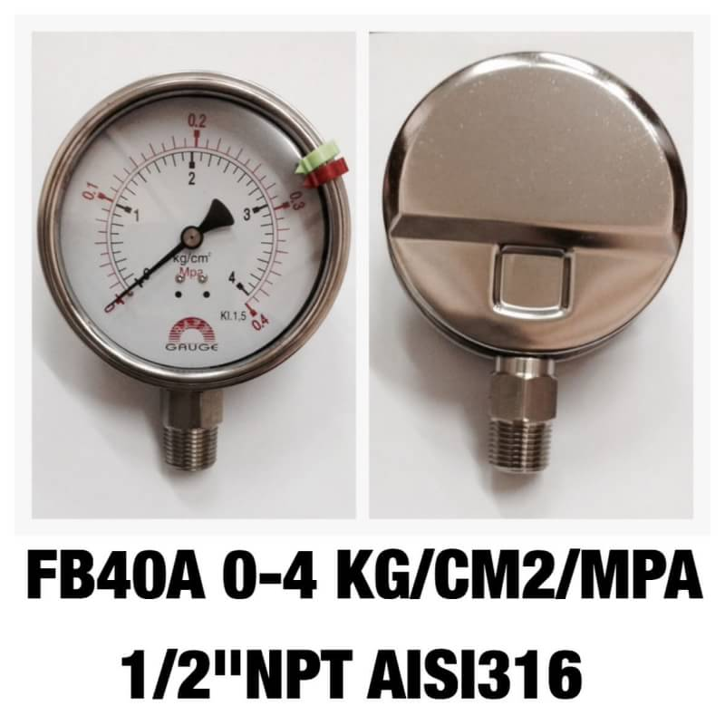 "Safeguage Pressure Gauge 0-0.4 mpa & 0-4 bar Dia.4"" Conn.1/2""npt Bottom Type"